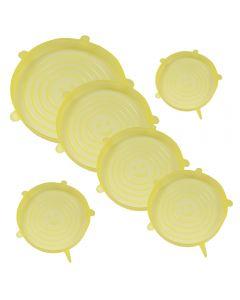Capace flexibile silicon, set de 6, extensibile, dimensiuni diferite, inlocuitor folie alimentara, capac silicon pentru vase / recipiente, 6 x capac pentru mentinerea prospetimii, capace elastice castron / bol, reutilizabile, capace vase, Maxx, galben