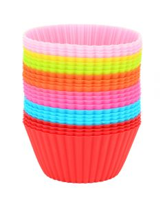 Forme briose Maxx, set de 24 bucati, silicon, forme de copt, madeline, mini tarte, 7 cm, multicolor
