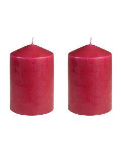 Set 2 lumanari parfumate, lumanare parfumata stalp, d=6.5 cm, h = 11 cm, decor parfumat, Muller, visiniu
