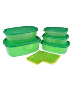 Cutie depozitare alimente, cu capac inchidere etansa, suprapozabile, set de 5, capacitate 2.7 l, 1.7 l, 1.1 l, 700 ml, 375 ml, 10 pungi alimentare plastic, Blaumann, verde