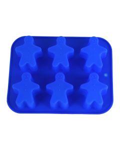 Forma pentru copt din silicon termorezistent pentru prajituri, Kaiserhoff, tava de copt silicon, rezista la temperaturi intre -40 si 230 grade C, model 6 omuleti, albastru