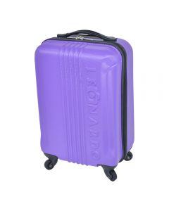 Troler pentru cabina compatibil cu toate liniile aeriene, geamantan mana cu 4 roti, valiza din ABS, Leonardo, dimensiuni exterioare 52 x 31 x 20 cm, dimensiuni interioare 45.5 x 31 x 20 cm, 18 inch, lila