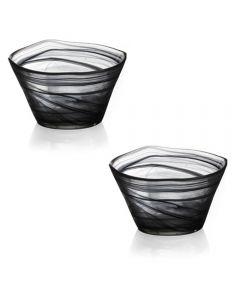Suport lumanare din sticla, bol rezistent pentru decoratiuni, set de 2 bucati
