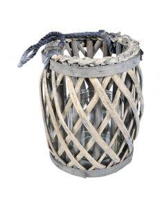 Suport lumanare din ratan cu bol de sticla, felinar vintage, gri, 20 cm