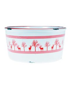 Bol ceramic, rotund, vintage, castron rustic, model traditional, recipient servire, Pierrot, h9 cm x Ø18 cm, alb cu decoratiuni rosii, 1.5 L