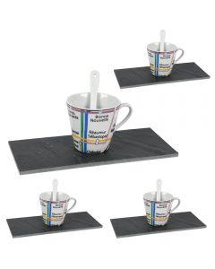 Set 4 cesti expresso cu farfurii piatra si linguri ceramica, serviciu de cafea, model harta Paris, set servire cafea, Cosy&Trendy