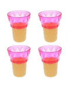 Cornet din plastic, cupa inghetata sau desert, set de 4, roz, 11 cm