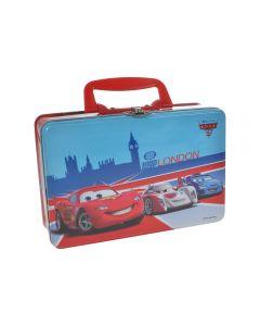 Cutie tip geanta, cu maner, metalica, gentuta pentru gradinita pachet pranz, 20 x 13 x 7 cm, model Cars WGP London