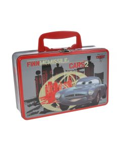 Cutie tip geanta, cu maner, metalica, gentuta pentru gradinita pachet pranz, 20 x13 x 7 cm, model Cars Finn McMissile