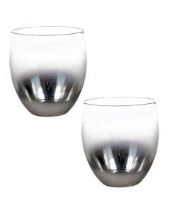 Set 2 pahare din sticla fumuriu cu aspect vintage, Glamor Collection-Gusta, gri, 400 ml