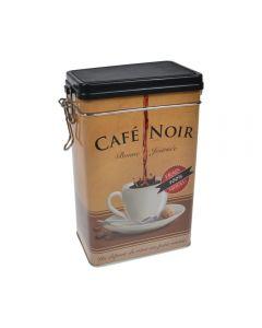 Cutie metalica depozitare alimente, recipient cu capac etans din plastic, Cafe Noir, 1.8 L, maro, 11.7x7.8x19.7 cm