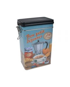 Cutie metalica depozitare alimente, recipient cu capac etans din plastic, Bon petit dejeuner, 1.8 L, bleu, 11.7 x 7.8 x 19.7 cm