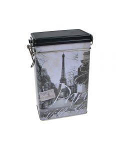 Cutie metalica depozitare alimente, recipient cu capac etans din plastic, Paris, 1.8 L, alb-negru, 11.7 x 7.8 x 19.7 cm