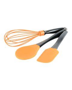 Set 3 ustensile bucatarie, 1 x lingura pentru gatit 29 cm, 1 x tel 30 cm, 1 x spatula 24.5 cm silicon, BergHoff, portocaliu