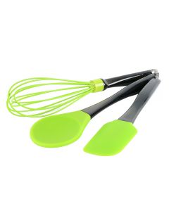 Set 3 ustensile bucatarie, 1 x lingura pentru gatit 29 cm, 1 x tel 30 cm, 1 x spatula 24.5 cm silicon, BergHoff, verde
