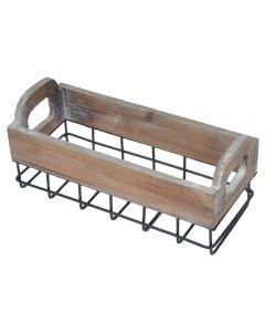 Cos metalic cu bordura de lemn, ladita vintage decor, organizator rustic, picnic, dreptunghiular, 25 x 11 cm