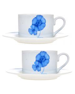 Set 2 cesti cu 2 farfurii ceai/cafea, set servire cafea, 2 x ceasca cu 2 x farfurie, 200 ml, model flori albastre, Kes