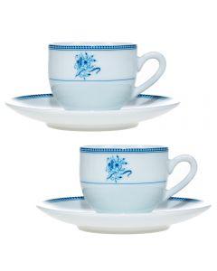 Serviciu cafea cu 2 cesti + 2 farfurii cafea/expresso, set servire cafea, 2 x ceasca + 2 x farfurie, model floricele, 100 ml