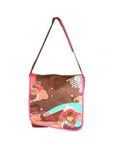Geanta laptop tip postas pentru copii si adolescenti, ghiozdan copii, Miss B, 36 x 33 x 10 cm, maro