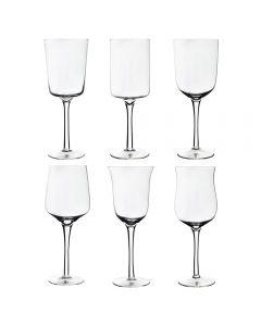 Set 6 pahare pentru vin cu picior, 550 ml, Bitossi, forme diferite pentru toate tipurile de bauturi