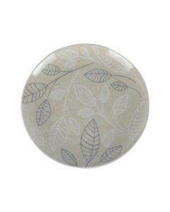 Farfurii desert, set de 4, ceramica, 4 x farfurie prajitura/tort, model frunze, Rose&Tulipani, Leaves, d 19 cm