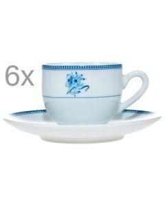 Set 6 cesti cu 6 farfurii cafea/expresso, set servire cafea, 6 x ceasca + 6 x farfurie, model floricele, 100 ml