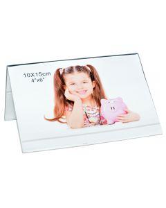 Rama foto dubla, tip vedere, suport fotografie sau mesaje, suport mesaj/meniu masa, plastic, 10 x 15 cm