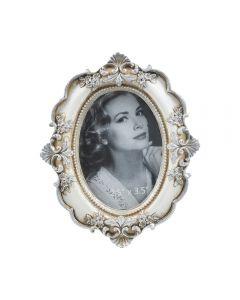 Rama fotografie, vintage, ovala cu detalii florale, rama poze cu aspect retro, antique silver, 13 x 11 cm, foto 6.5 x 9 cm, Maxx