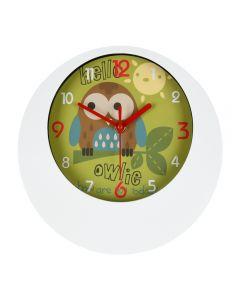 Ceas de perete pentru dormitor/camera copilului, Splendid, rotund, model bufnita Owlie, 24 cm