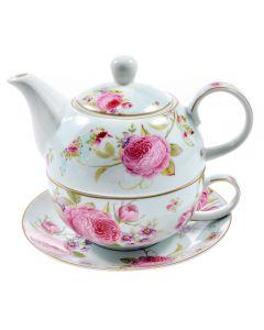 Ceainic cu capac, ceasca si farfurie din portelan, Tea for One, vintage, Sweet Roses