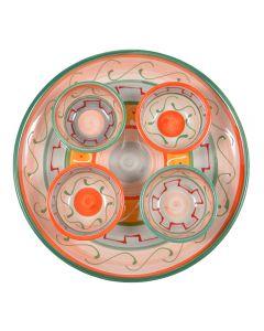 Platou servire cu 4 boluri, ceramica, pentru aperitive / tapas / sosuri, model rustic / traditional, Cordoba, multicolor, d 26 cm