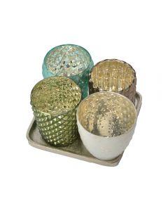 Set 4 suporturi lumanare cu suport de sticla, 4 x suport lumanare cu forme si culori diferite, Day Dream, set de 5 piese, model vintage