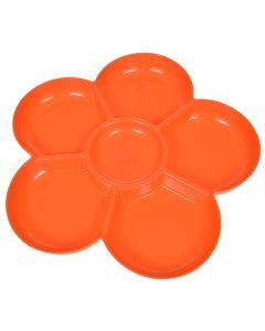 Platou servire aperitive / snack / gustari, picninc, 6 compartimente, plastic, model floare, d 35 cm, farfurie servire, portocaliu, Albert Heijn