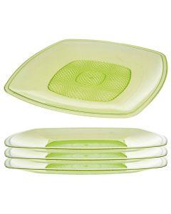 Farfurii plastic, set de 4, rezistente si reutilizabile, patrate, moderne, 4 x farfurie plastic, d 23 cm, verde transparent, Albert Heijn