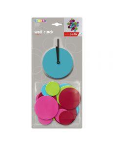 Ceas de perete sticker neopren, cercuri, Do it yourself, ceas decorativ, multicolor, O'Deco