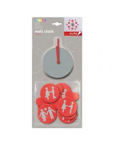 Ceas de perete sticker neopren, Love, Do it yourself, ceas decorativ, rosu/gri, O'Deco