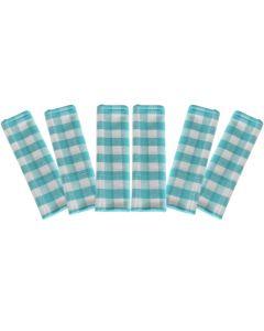 Prosop de bucatarie, bumbac, set 6 prosoape, superabsorbant, dreptunghiular, 68 x 56 cm, carouri, Tiseco, bleu-alb