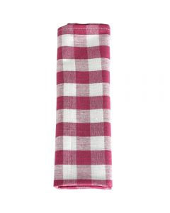 Prosop de bucatarie, bumbac, set 6 prosoape, superabsorbant, dreptunghiular, 68 x 56 cm, carouri, Tiseco, roz-alb
