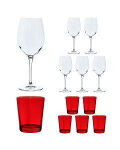 Set 12 pahare, Bormioli Rocco, model Special Time, 6 x pahar cu picior vin rosu/rose/alb/cocktail 600 ml sticla transparenta + 6 x pahar apa 300 ml sticla transparenta rosie, fabricat in Italia