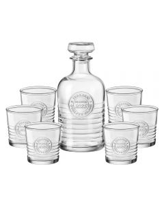 Set carafa/decantor sticla 1L + 6 pahare apa/bauturi alcoolice, Bormioli Rocco, Officina 1825 fabricat in Italia, 300 ml, transparent