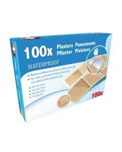 Set 100 plasturi rezistenti la apa, exterior neaderent, 20 buc-76x19 mm, 20 buc-56x19 mm, 50 buc-40x10 mm, 10 buc-Ø22 mm, Quasar&Co