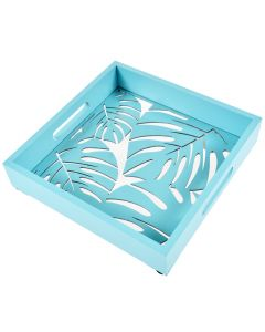Tava servire din lemn si sticla, cu manere, forma patrata, model decupat feriga, 24 x 24 x 5 cm, bleu, Quasar
