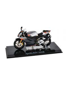Macheta moto de colectie, motocicleta model Aprilia RSV 1000 R, Atlas, gri-negru, Scara 1:24