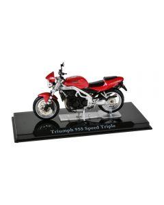 Macheta moto de colectie, motocicleta model Triumph 955 Speed Triple, Atlas, rosu-negru, Scara 1:24