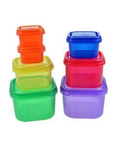 Cutii alimentare pentru mancare disociata, 7 buc/set, cutii alimentare colorate cu stiker pentru grupele de mancare, cutii alimentare portionate pentru alimentatie sanatoasa, cu capac, plastic, BPA free
