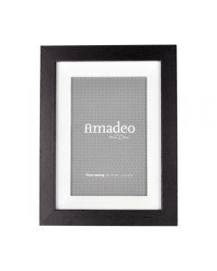 Rama foto, lemn, pentru poza 10 x 15 cm, rama de birou, clasica, pentru fotogarfie, dimensiune rama 20.5 x 16 x 3 cm, Amadeo, negru