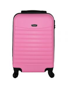 Troler avion, geamantan/bagaj mana cu 4 roti, valiza calatorie ABS, inchidere cifru, roti 360 grade, maner ergonomic cu interior de silicon, ultrarezistent (video in descriere), Quasar, 55 x 36 x 23 cm, roz candy