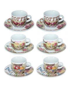 Serviciu cafea, Cosy&Trendy, set de 12 piese cu 6 cescute si 6 farfurii, portelan, 6 x ceasca + 6 x farfurie, model floral