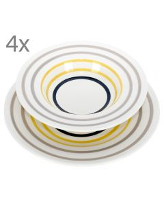 Serviciu de masa cu 4 farfurii adanci si 4 farfurii intinse, Maravilla, ceramica, set de masa 8 piese, 4 x farfurie adanca + 4 x farfurie fel principal, model cercuri concentrice