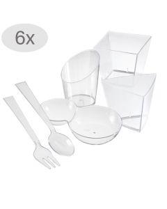 Set servire aperitive, 36 piese, 24 recipiente + 6 lingurite + 6 furculite, plastic, pahare servire aperitiv/desert, cupe plastic pentru servire, 24 x 50 ml, Duni